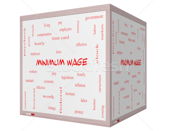 Minimum Wage Word Cloud Concept on a 3D cube Whiteboard Stock photo © mybaitshop