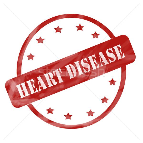 Rosso intemperie malattie cardiache timbro cerchio stelle Foto d'archivio © mybaitshop