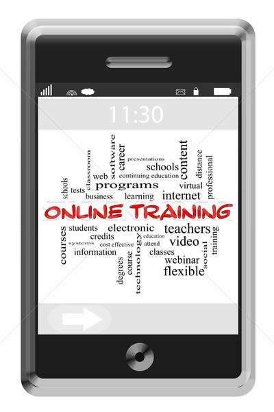 Stock fotó: Online · képzés · szófelhő · érintőképernyő · telefon · nagyszerű