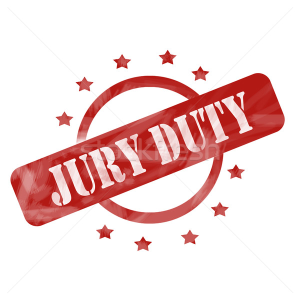 Red Weathered Jury Duty Stamp Circle and Stars design Stock photo © mybaitshop