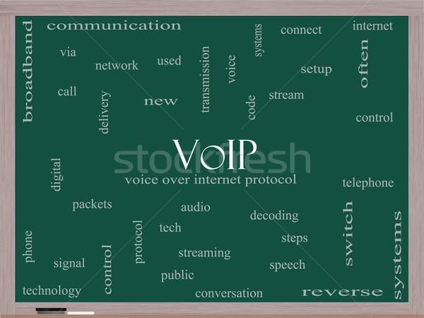 VOIP Word Cloud Concept on a Blackboard Stock photo © mybaitshop
