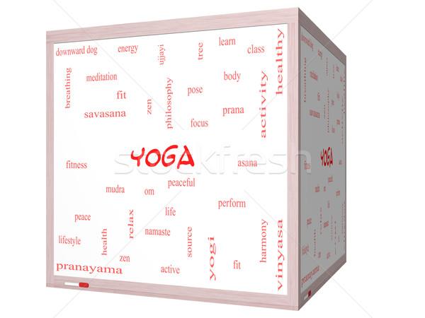 Yoga Word Cloud Concept on a 3D cube Whiteboard Stock photo © mybaitshop