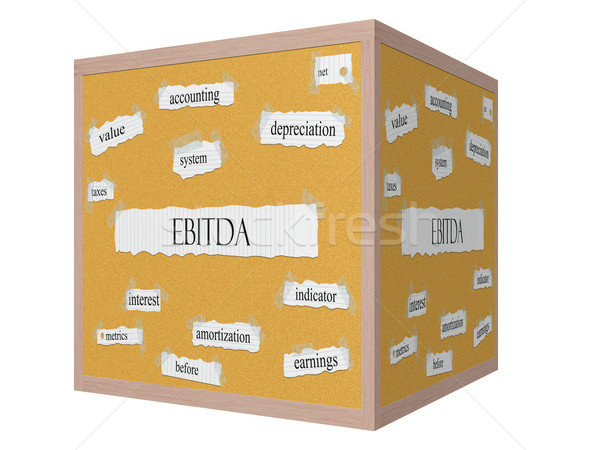 EBITDA 3D cube Corkboard Word Concept Stock photo © mybaitshop