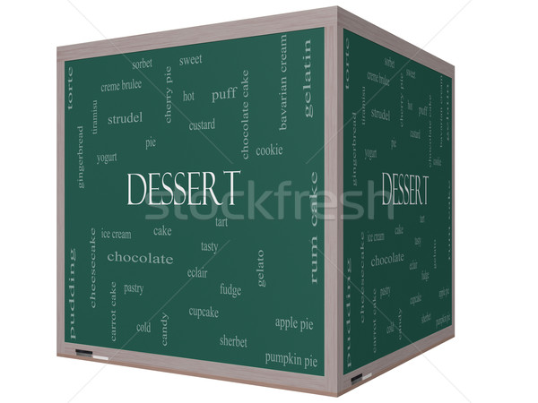Dessert Word Cloud Concept on a 3D Blackboard Stock photo © mybaitshop