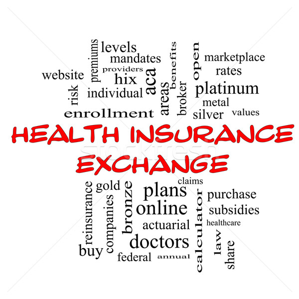 Health Insurance Exchange Word Cloud Concept in red caps Stock photo © mybaitshop