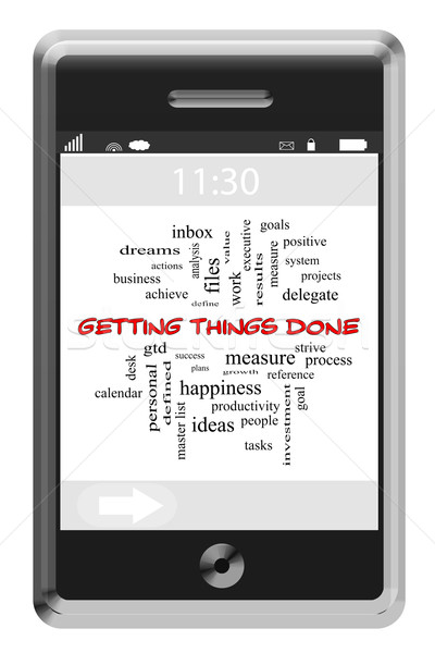 Getting Things Done Word Cloud Concept on a Touchscreen Phone Stock photo © mybaitshop
