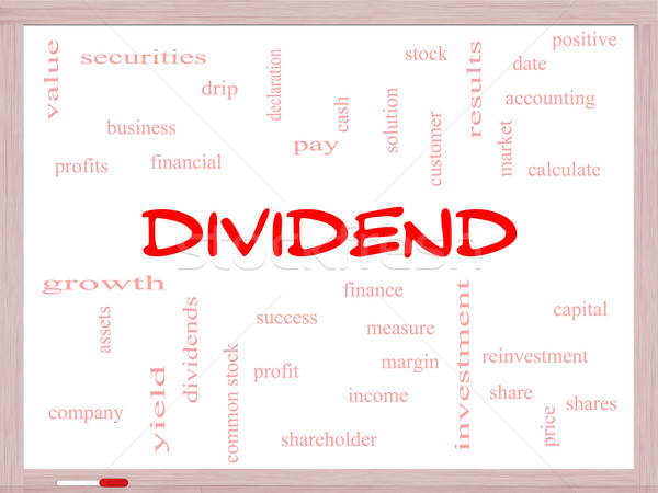 Dividend Word Cloud Concept on a Whiteboard Stock photo © mybaitshop