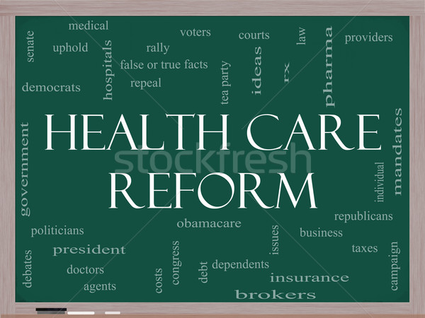 Health Care Reform Word Cloud Concept on a Blackboard Stock photo © mybaitshop