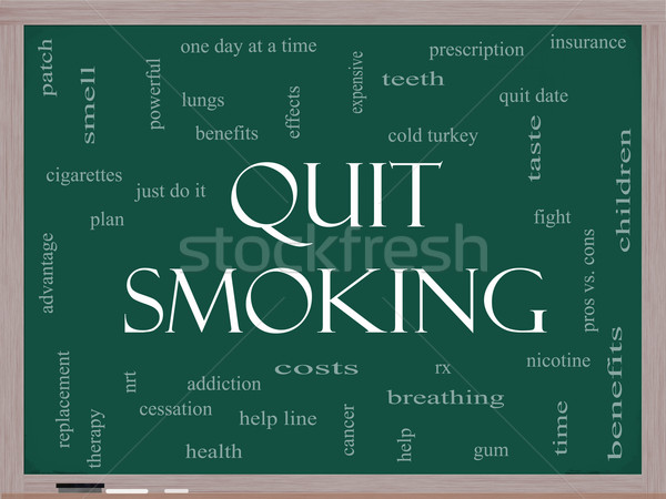 Quit Smoking Word Cloud Concept on a Blackboard Stock photo © mybaitshop