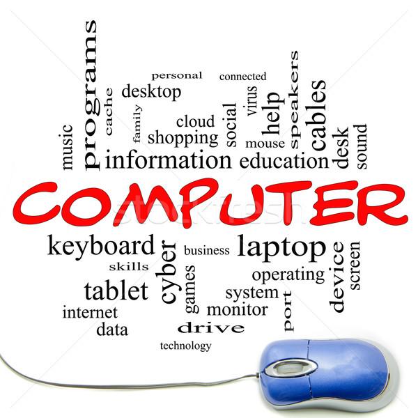 Stock fotó: Számítógép · szófelhő · kék · egér · nagyszerű · laptop