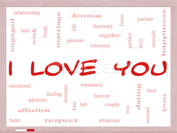 I Love You Word Cloud Concept on a Whiteboard Stock photo © mybaitshop