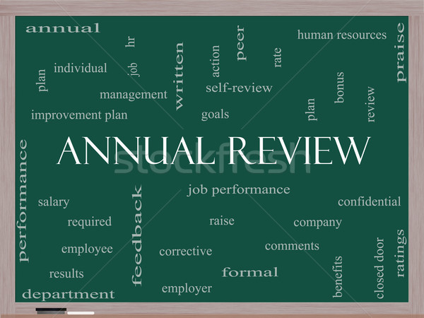 Annual Review Word Cloud Concept on a Blackboard Stock photo © mybaitshop