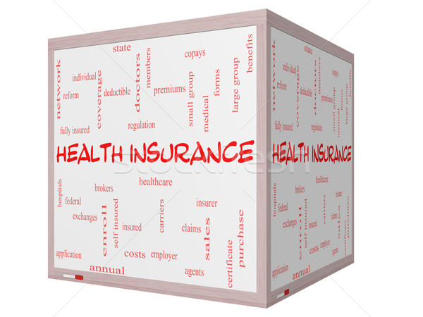 Health Insurance Word Cloud Concept on a 3D cube Whiteboard Stock photo © mybaitshop