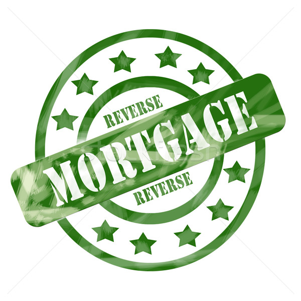 Green Weathered Reverse Mortgage Stamp Circles and Stars Stock photo © mybaitshop
