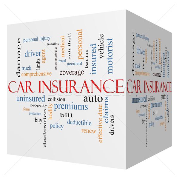 Car Insurance 3D Cube Word Cloud Concept Stock photo © mybaitshop