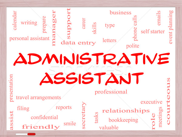 Administrative Assistant Word Cloud Concept on a Whiteboard Stock photo © mybaitshop