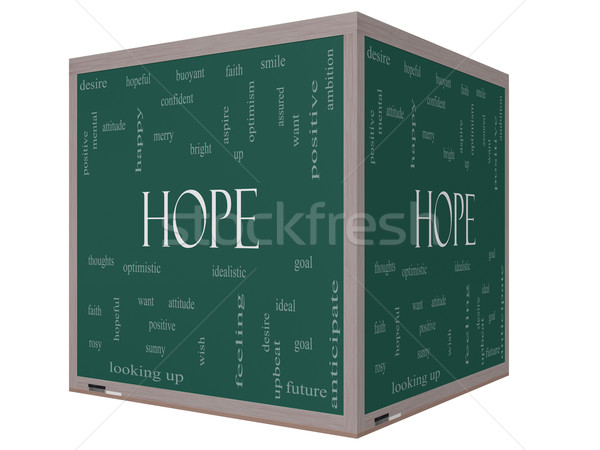 Hope Word Cloud Concept on a 3D cube Blackboard Stock photo © mybaitshop