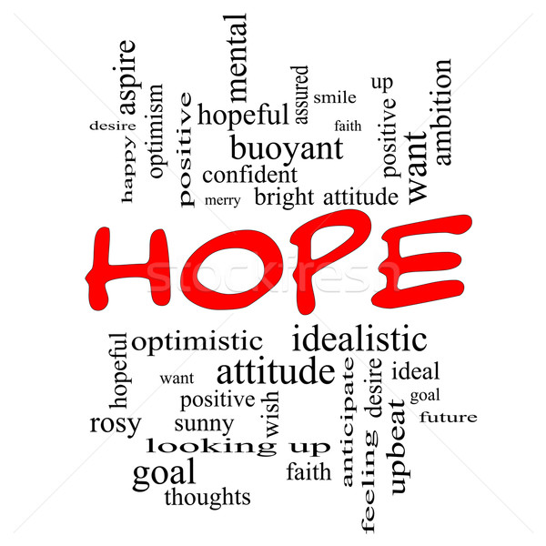 Speranza word cloud rosso ottimista obiettivo Foto d'archivio © mybaitshop