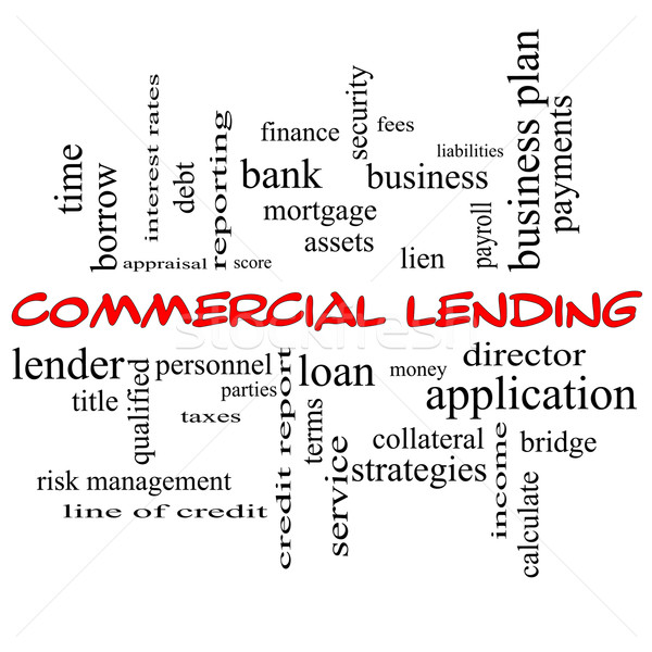 Commercial Lending Word Cloud Concept in red caps Stock photo © mybaitshop