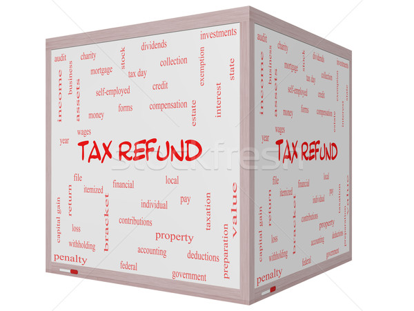 Tax Refund Word Cloud Concept on a 3D cube Whiteboard Stock photo © mybaitshop