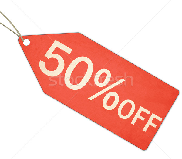 Stock photo: Fifty Percent Off Sale Red Tag and String
