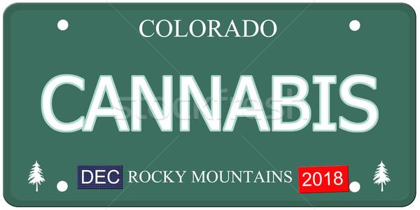 Cannabis Colorado rendszámtábla hamisítvány szó készít Stock fotó © mybaitshop
