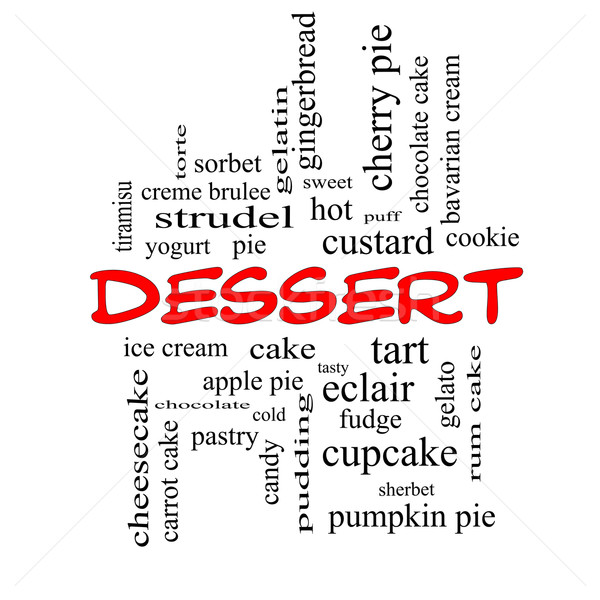 Stock photo: Dessert Word Cloud Concept in red caps