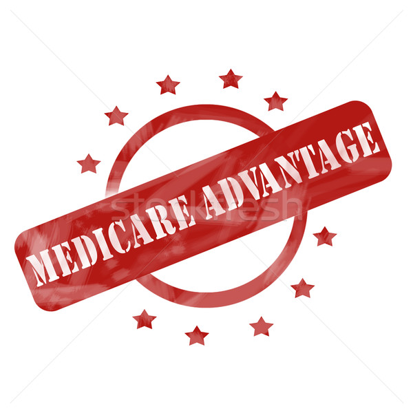 Red Weathered Medicare Advantage Stamp Circle and Stars design Stock photo © mybaitshop
