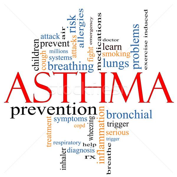 Astma woordwolk rx lucht arts Stockfoto © mybaitshop