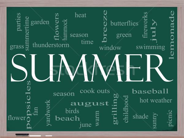 Summer Word Cloud Concept on a Blackboard Stock photo © mybaitshop