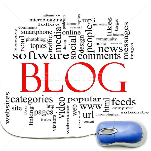 Блог слово облако мыши Компьютерная мышь интернет Сток-фото © mybaitshop