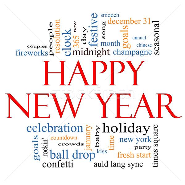 Feliz ano novo nuvem da palavra celebração férias contagem regressiva Foto stock © mybaitshop