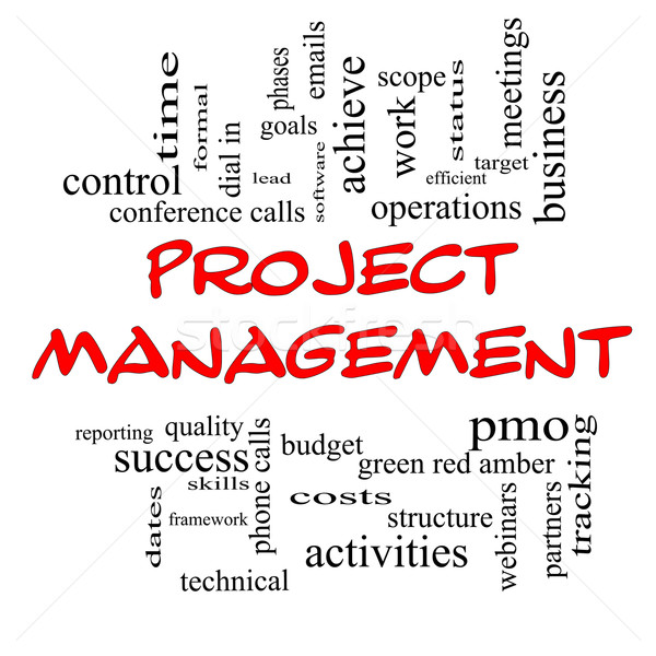 Project Management Word Cloud Concept in Red Caps stock photo ...