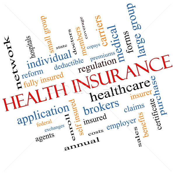 Health Insurance Word Cloud Concept Angled Stock photo © mybaitshop