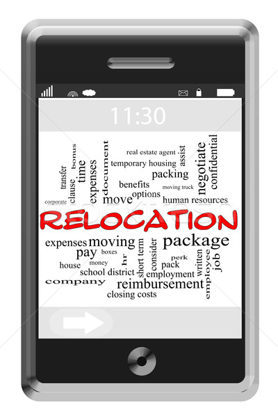Relocation Word Cloud Concept on Touchscreen Phone Stock photo © mybaitshop