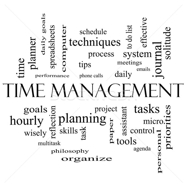 Time Management Word Cloud Concept in black and white Stock photo © mybaitshop