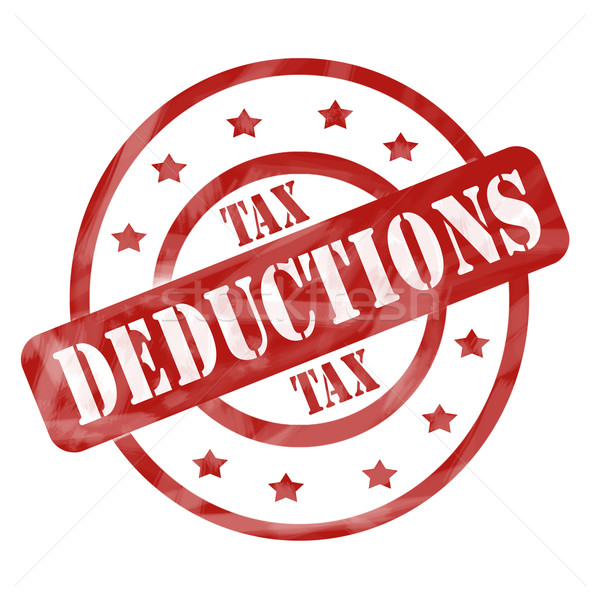 Red Weathered Tax Deduction Stamp Circles and Stars Stock photo © mybaitshop