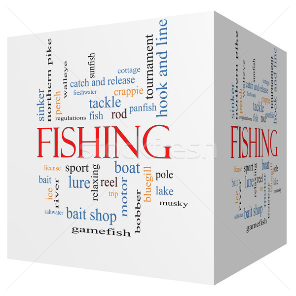 Fishing 3D cube Word Cloud Concept Stock photo © mybaitshop