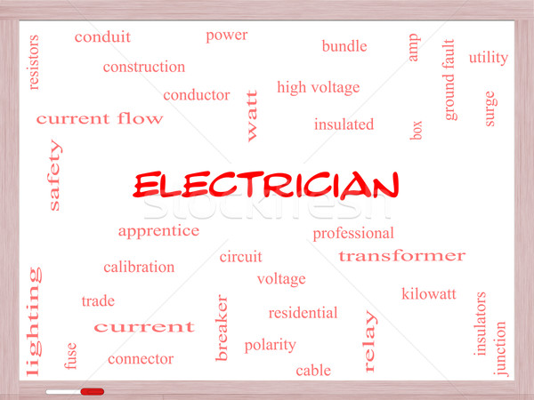 Electrician Word Cloud Concept on a Whiteboard Stock photo © mybaitshop