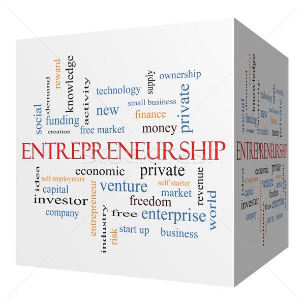 Ondernemerschap 3D kubus woordwolk groot economisch Stockfoto © mybaitshop