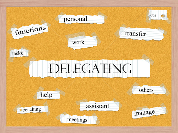 Delegating Corkboard Word Concept Stock photo © mybaitshop