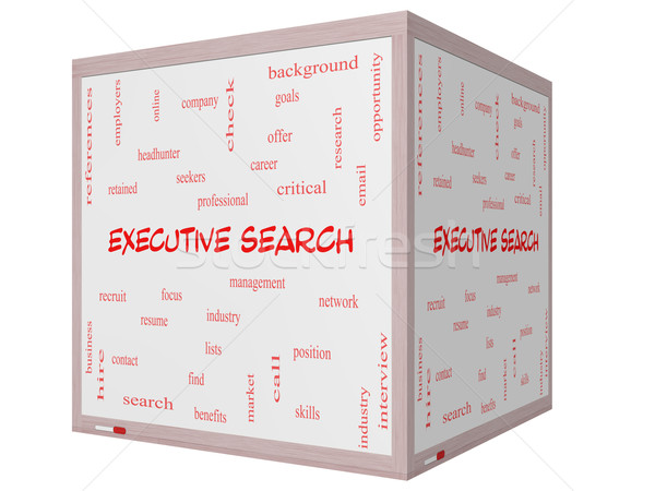 Executive Search Word Cloud Concept on a 3D cube Whiteboard Stock photo © mybaitshop