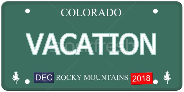 Vakantie Colorado kentekenplaat namaak woord Stockfoto © mybaitshop