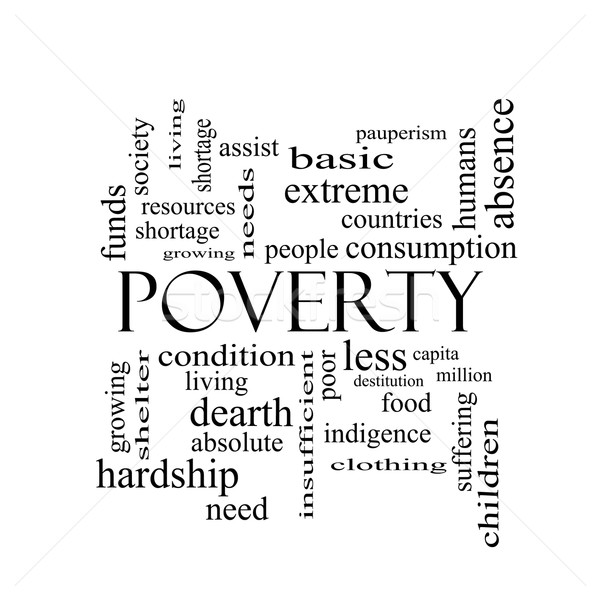Poverty Word Cloud Concept in black and white Stock photo © mybaitshop