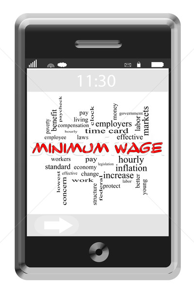 Minimum Wage Word Cloud Concept on a Touchscreen Phone Stock photo © mybaitshop