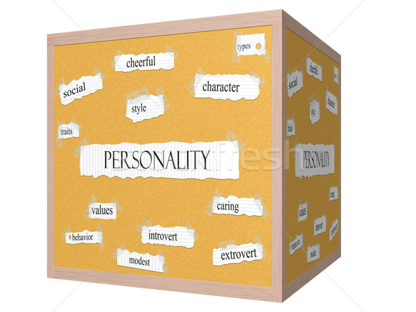 Personality 3D cube Corkboard Word Concept Stock photo © mybaitshop