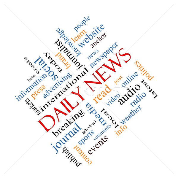 Daily News Word Cloud Concept Angled Stock photo © mybaitshop