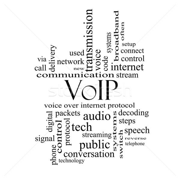 Voip word cloud bianco nero voce internet Foto d'archivio © mybaitshop