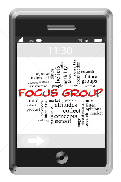 Focus group word cloud telefono studio Foto d'archivio © mybaitshop