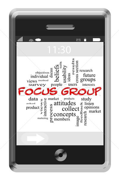 Groupe de discussion nuage de mots écran tactile téléphone magnifique étude Photo stock © mybaitshop